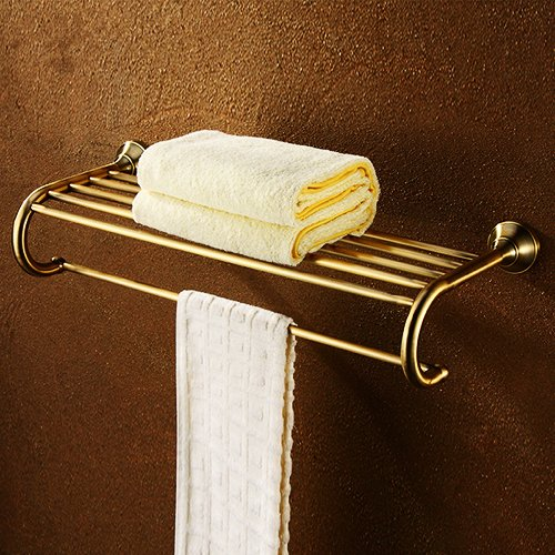 Ouku Wall Mount Lavatory Bath Shower Accessories Antique Brass 26 Inch Bathroom Shelf With Towel Bar Gold Multi Fuction Towel Holders And Stands front-1018885