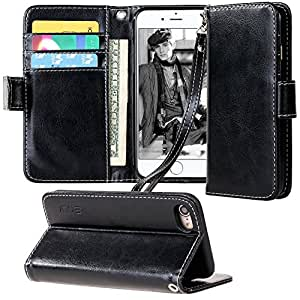 iPhone 7 Case, E LV iPhone 7 Case Cover - Flip Folio Full Body Protection for Apple iPhone 7 - [BLACK]