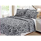 Textiles Plus 100-Percent Cotton Quilt Set, Full/Queen, Damask, Black and White