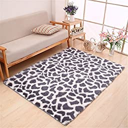 Hoomy Shaggy Leopard Print Carpet for Living Room Modern High-pile Bedroom Area Rugs Silver Gray Floor Rugs New 4\'X6.5\'
