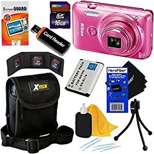 Nikon COOLPIX S6900 16MP Wi-Fi Digital Camera with 12x Zoom & HD 1080p video (Pink) - International Version (No Warranty) + EN-EL19 Battery + 8pc 16GB Accessory Kit w/ HeroFiber® Cleaning Cloth