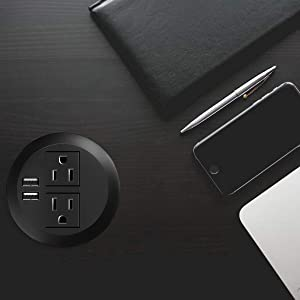 Desktop Power Grommet with USB,Recessed Power Socket with 2 AC Outlets and 2 USB Charging Ports. Desk Grommet Outlet 3in Hole,for Kitchen Table/Conference Room Outlet (Color: 3in-B)