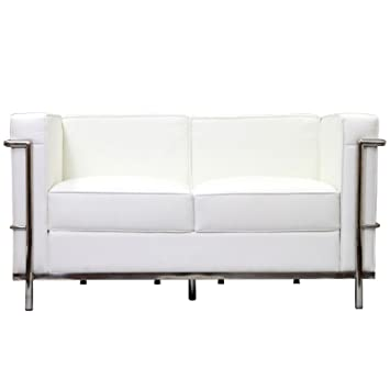 Fine Mod Imports Cube Lc2 Petit Loveseat, White