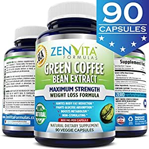Pure Green Coffee Bean Extract 800 mg With GCA® [ 90 Capsules ] - GCA® = Green Coffee Antioxidant, Standardized 50% Chlorogenic Acid, 45 Days Supply, Maximum Strength Natural Weight Loss Supplement, Appetite Suppressant, Carb Blocker, and Fat Burner. 100% Money Back Guarantee! No Risk - Lose Weight or Your Money Back by ZenVita Formulas