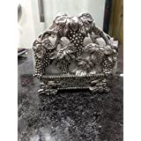 Oxidised White Metal Silver Fruit Tissue / Napkin Holder Pink City HandiPHaft For Home Decor Gift Item - 5X2X4.5 Inch