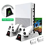 OIVO Vertical Cooling Stand Compatible with Xbox ONE X/Xbox ONE S/Regular Xbox ONE, Cooler Cooling Fan with 2PACK 600mAh Batteries, Games Storage, Dual Controller Charging Dock Station (X0011-White) (Color: White)