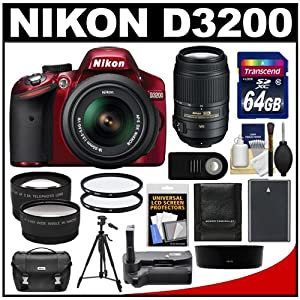 Nikon D3200 Digital SLR Camera & 18-55mm G VR DX AF-S Zoom Lens (Red) with 55-300mm VR Lens + 64GB Card + Case + Battery + Grip + Tripod + Lens Set + Filters Kit