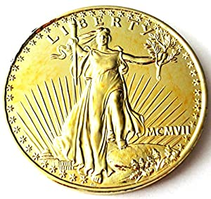"Jumbo $20.00 US Gold Coin Replica - 3"" Gold Chrome Metal Coin"