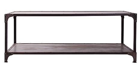 Indhouse - Mesa de centro estilo industrial para decoración vintage en hierro y chapa de acero Caine