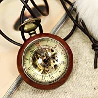Antique Steampunk Wooden Glass Ball Mechanical Pocket Watch Necklace Chain Gift from DANKU