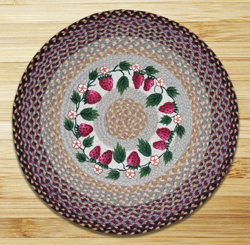 Earth Rugs 66-357S Strawberries Round Patch