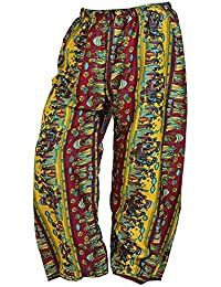 Boho Multi Color Over Waist/Wide Leg Long Yoga Palazzo Pants - B072KVSJHB