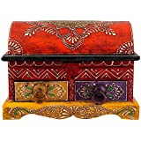 Shop Sting Gujarati Art Wooden Jewelry Box With 2 Drawers (25 Cm X 18 Cm X 18 Cm, Red)