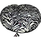 BESSIE AND BARNIE 30-Inch Bagel Bed For Pets, X-Large, Wild Zebra/Black Puma