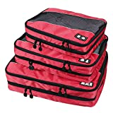 TravelMore Double Sided (Clean & Dirty) Travel Packing Cubes 3pc Set for Luggage Organization - Red