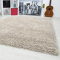 Monochrome Unicolor Living Room Rug High Pile Shaggy Deep Pile Choice Of Size And Colour 1500Light Grey
