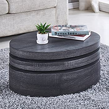 NewRetailGlobal Modern Black Oak Coffee Tables Round Rotating 3 Layers Living Room Furniture