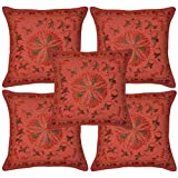 Heavy Embroidered Home Furnishing Cotton Pillow Covers 16 Inches 5 Pcs