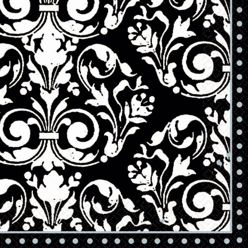 Formal Affair Black and White French Scroll Beverage Napkins 16 Ct
