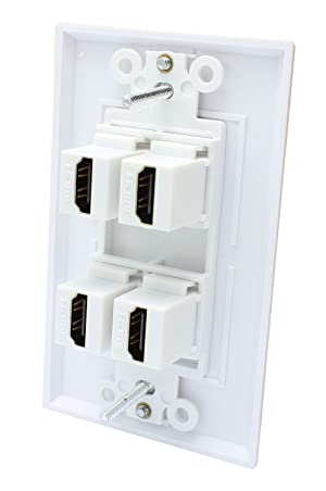 4 Port HDMI Female to Female Decorative Wall Plate in White . (Tamaño: 4 port HDMI)