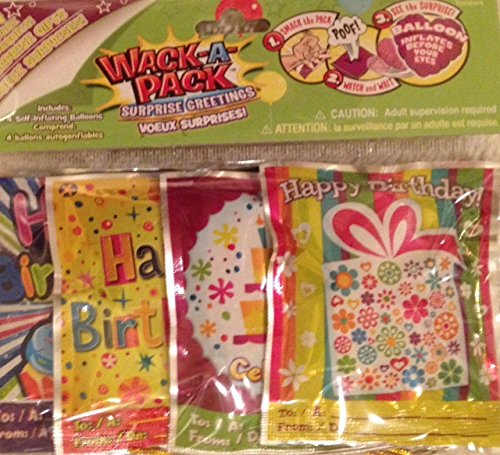 Wack-A-Pack Happy Birthday Self-Inflating Foil Balloons, 1 Package of 4