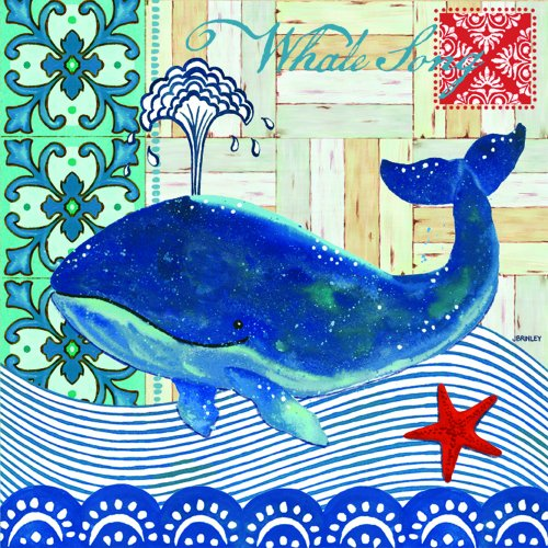 Paperproducts Design 1251256 Paper Beverage/Cocktail Napkin, 5 by 5-Inch, Whale Song Blue