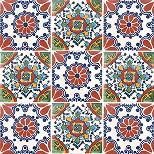 9 Hand Painted Talavera Mexican Tiles 4x4