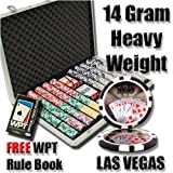 1000 Royal Flush Poker Chip Set with Free WPT Rule Book. 14 Gram Heavy Weighted Poker Chips.