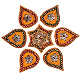 Mela Beaded Decorative Festive Diwali Rangoli And Tea Light Candle Holder With Gift Box (Acrylic, 24 Cms, Orange...
