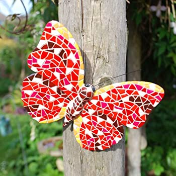Red Coloured Mosaic Wall Mountable Butterfly Garden Wall Art Ornament by Gardens2you