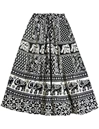 DollsofIndia Black And White Sangeneri Print Cotton Skirt - Length - 38 Inches - Elastic Waist - 26 To 38 Inches...