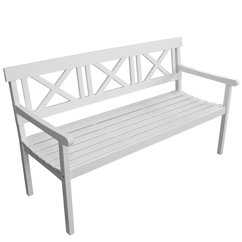 Gartenbank 3-Sitzer aus FSC zertifiziertem Eukalyptusholz 155x64,5x87cm - weiß im Landhausstil / Parkbank Sitzbank Holzbank Gartenmöbel Terrassenmöbel Balkonmöbel