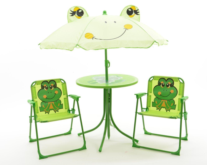 Kinder Gartenset Camping Gartenmöbel 2 Klappstühle 1 Tisch 1 Sonnenschirm Motiv Frosch