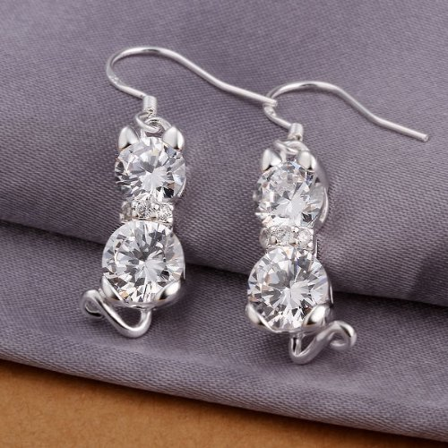 925 Silver Plated Earrings Rhinestone Cat Pendant Ear Drop Jewelry By Chonlyshop