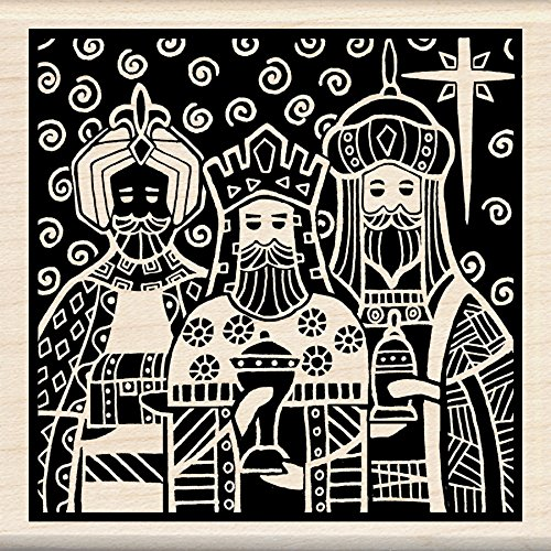 Inkadinkado Christmas Mounted Rubber Stamp, 3 by 3-Inch, Three Kings