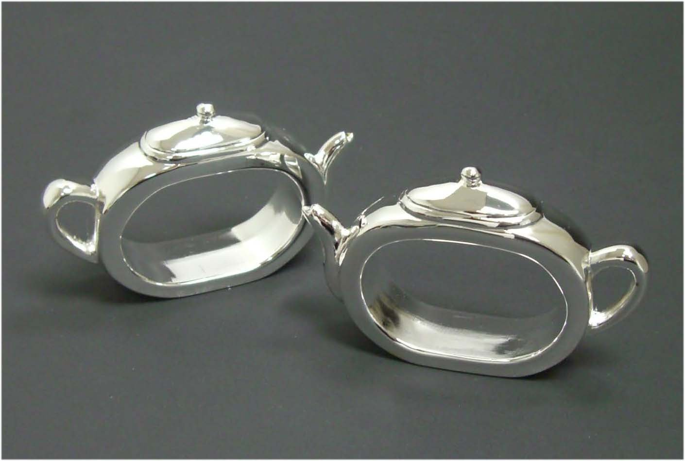 Silverplated Teapot Shaped Napkin Rings