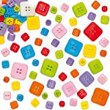 Assorted Square Buttons for Childrens Crafts Collage Card Making Sewing Pack of 200