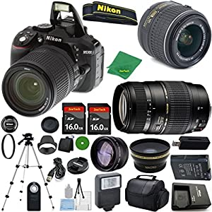 ZeeTech Ultimate Bundle for D5300 24.2 MP DSLR, NIKKOR 18-55mm f/3.5-5.6 Auto Focus-S DX VR, Tamron 70-300mm DI LD Zoom, 2pcs 16GB ZeeTech Memory, Case, Wide Angle, Telephoto, Flash
