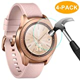 CAVN 4-Pack Compatible Samsung Galaxy Watch 42 mm Screen Protector Tempered Glass, Waterproof Screen Guard Cover Compatible Samsung Galaxy Watch 42 mm Rose Gold/Midnight Black (Color: Tempered Glass Clear)