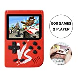 Kalolary Retro FC Handheld Game Console 500 Classic Games, 3 Inch Screen Support TV Video Game Player & 1 Joystick Controller, Birthday Presents for Kids to Adult (Red) (Color: 500 Games-red)
