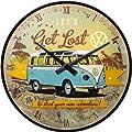 VW Bulli Get Lost Wanduhr mit Metallgeh�use & Quarzuhrwerk Uhr Volkswagen 51058