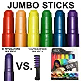 Kids Hair Chalk - JUMBO HAIR CHALK PENS - RAINBOW - Washable Hair Color Safe For Kids And Teen - 200% MORE COLOR PER PEN - SCENTED - For Party, Girls Gift, Kids Toy, Birthday Gift For Girls, 6 Colors (Color: rainbow)