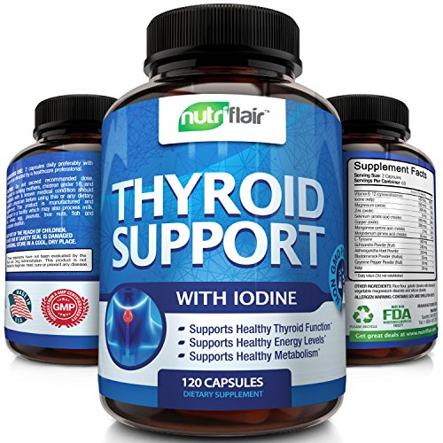 Thyroid Support Supplement With Iodine, 120 Capsules -