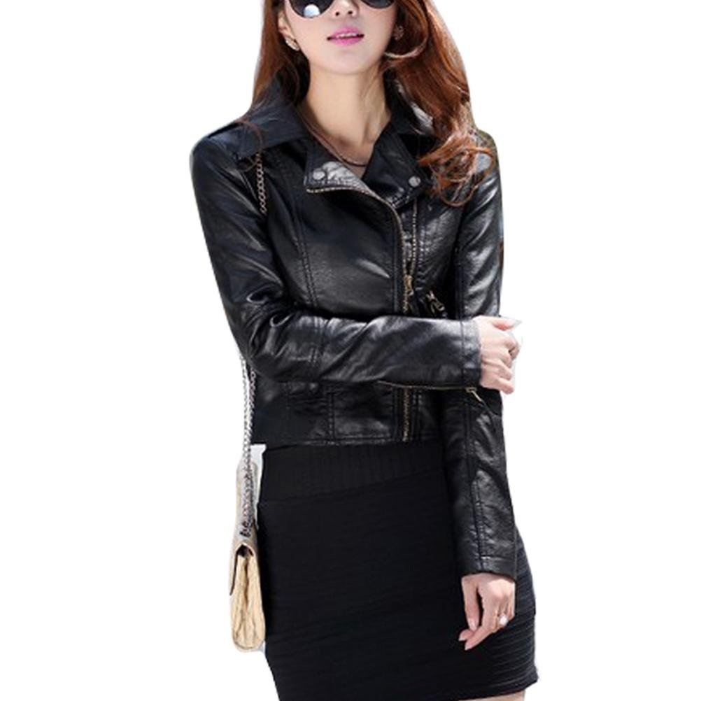 Gaorui Women's Vintage Slim Biker Motorcycle PU Soft Leather Zipper Jacket Coat 0
