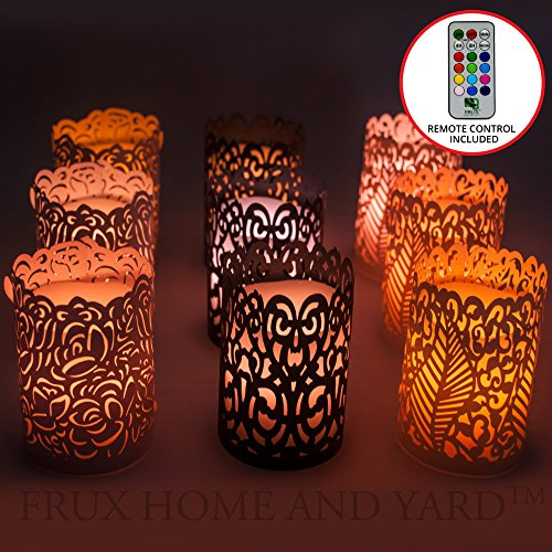 Frux Flameless Wax Votive Candles - 9 Piece Set with Remote Control Color Changing and our exclusive BONUS Laser Cut Decorative Wraps