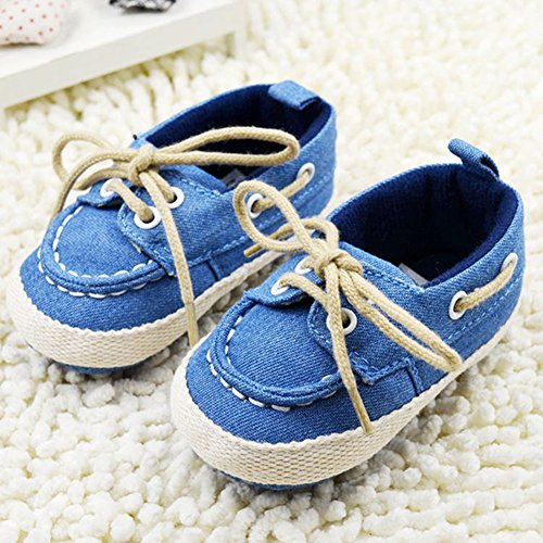 6. Weixinbuy Infant Baby Boy's Lace Up Soft Bottom Prewalker Sneaker