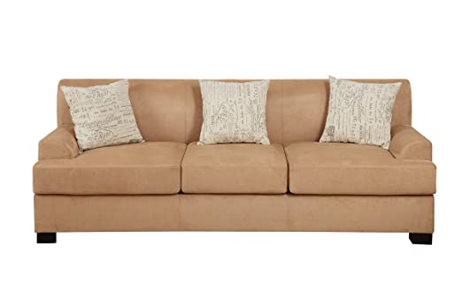 Sofa Upholstered in Tan Microsuede by Poundex