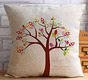 Yecz 18 X 18 Inches Oil Painting Cotton Linen Throw Pillow Cover Red Flower Decorative Cushion Case Home Pillowcase by buoluo