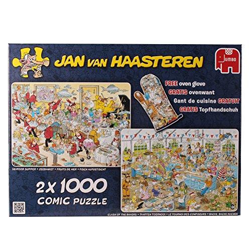 Jumbo 19003 - Jan van Haasteren - 2in1 Food Frenzy, 2 x 1000 Teile mit Gratis Topfhandschuh hier kaufen