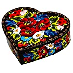 Petrykiv Ethnic Floral Style Heart-Shaped Lacquer Wooden Jewelry Box Hand Painted in Ukraine, Beautiful Gift for Girls and Women, Storage Case for Earrings, Necklace and Rings (Green)